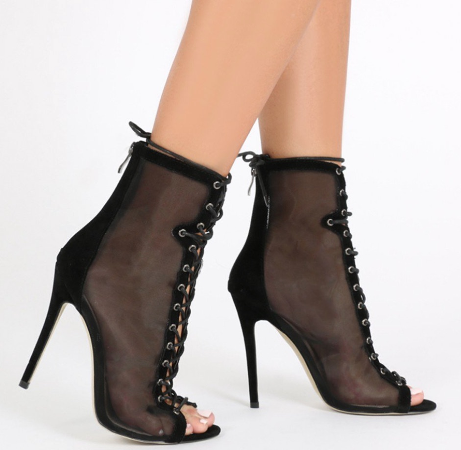 mesh lace up ankle boot